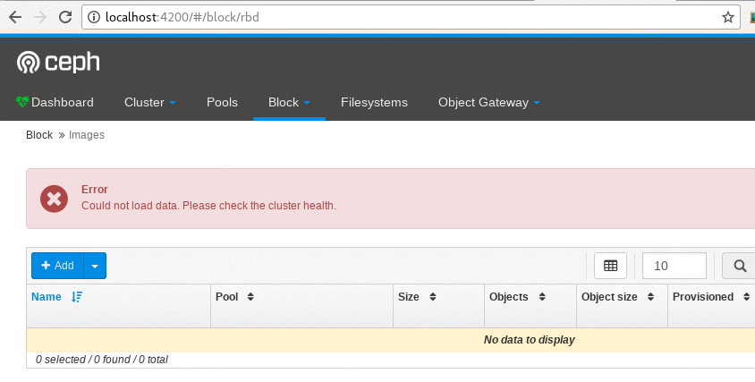 Bug #25090: mgr/dashboard: Datatable error panel blinking on page